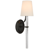 Abigail Large Sconce in Bronze and Clear Wavy Glass with Linen Shade