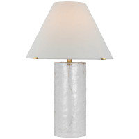 Driscoll Large Table Lamp in Clear Wavy Glass and Soft Brass with Linen Shade