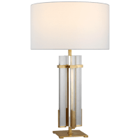 Malik Large Table Lamp in Hand-Rubbed Antique Brass and Crystal with Linen Shade
