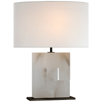 Ashlar Medium Table Lamp in Alabaster and Bronze with Linen Shade