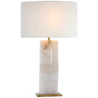 Ashlar Large Table Lamp in Alabaster and Hand-Rubbed Antique Brass with Linen Shade