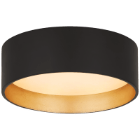 """Shaw 5"""" Solitaire Flush Mount in Matte Black and Gild with White Glass"""
