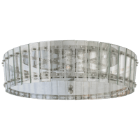 Cadence Large Single-Tier Flush Mount in Polished Nickel with Antique Mirror
