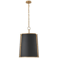 Hastings Medium Pendant in Hand-Rubbed Antique Brass with Black Shade