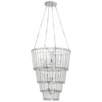 Cadence Large Waterfall Chandelier in Polished Nickel with Antique Mirror