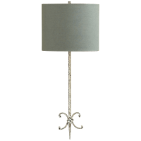 Roswell Sconce in Belgian White with Blue Linen Shade