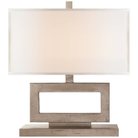 Mod Low Table Lamp in Burnished Silver Leaf with Linen Shade