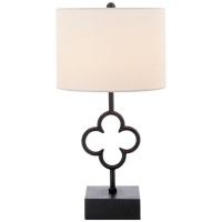 Quatrefoil Accent Lamp in Aged Iron with Linen Shade