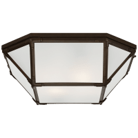 Morris Large Flush Mount in Antique Zinc with Frosted Glass
