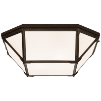 Morris Large Flush Mount in Antique Zinc with White Glass