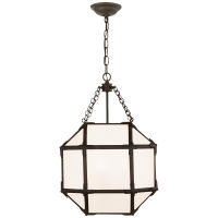 Morris Small Lantern in Antique Zinc with White Glass