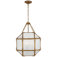 Morris Small Lantern in Gilded Iron with Frosted Glass