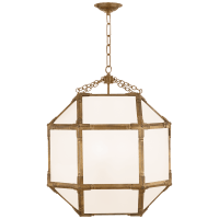 Morris Medium Lantern in Gilded Iron with White Glass