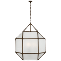 Morris Grande Lantern in Antique Zinc with Frosted Glass