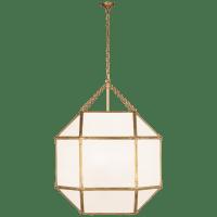 Morris Grande Lantern in Gilded Iron with White Glass