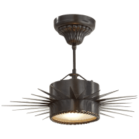 Soleil Small Semi-Flush in Bronze with Frosted Glass