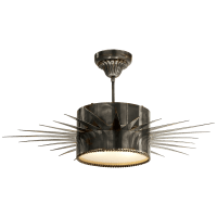 Soleil Large Semi-Flush in Bronze with Frosted Glass
