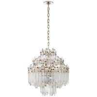 Adele Four Tier Waterfall Chandelier in Polished Nickel with Clear Acrylic