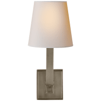 Square Tube Single Sconce in Antique Nickel with Natural Paper Shade