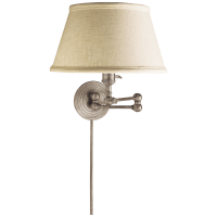 Boston Swing Arm in Antique Nickel with Linen Shade