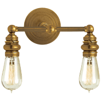 Boston Functional Double Light in Hand-Rubbed Antique Brass