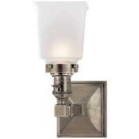 Boston Square Single Light in Antique Nickel with Frosted Glass