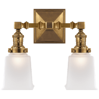 Boston Square Double Light in Hand-Rubbed Antique Brass with Frosted Glass