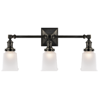Boston Square Triple Light Sconce in Bronze with Frosted Glass