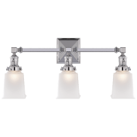 Boston Square Triple Light Sconce in Chrome with Frosted Glass