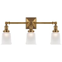 Boston Square Triple Light Sconce in Hand-Rubbed Antique Brass with Frosted Glass