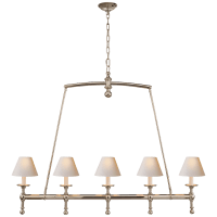Classic Linear Chandelier in Polished Nickel with Natural Paper Shades