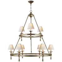 Classic Two-Tier Ring Chandelier in Antique Nickel with Natural Paper Shades