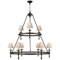 Classic Two-Tier Ring Chandelier in Bronze with Natural Paper Shades