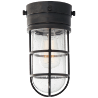 Marine Indoor / Flush Mount Light in Bronze with Seeded Glass