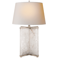 Cameron Table Lamp in Quartz and Burnished Silver Leaf with Natural Paper Shade