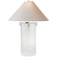 Brooks Table Lamp in Crystal and Polished Nickel with Natural Paper Shade