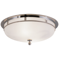 Openwork Large Flush Mount in Chrome with Frosted Glass