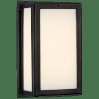 Mercer Short Box Light in Bronze with White Glass