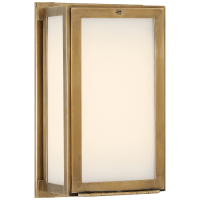 Mercer Short Box Light in Hand-Rubbed Antique Brass with White Glass