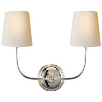 Vendome Double Sconce in Polished Nickel with Natural Paper Shades