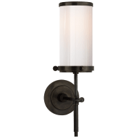Bryant Bath Sconce in Bronze with White Glass