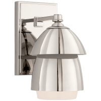 Whitman Small Sconce in Polished Nickel with Polished Nickel and White Glass Shade