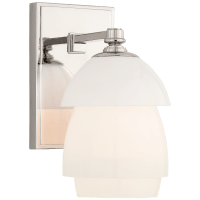 Whitman Small Sconce in Polished Nickel with White Glass Shade