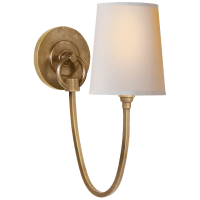 Reed Single Sconce in Hand-Rubbed Antique Brass with Natural Paper Shade