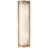 Dresser Long Glass Rod Light in Hand-Rubbed Antique Brass with Frosted Glass Liner