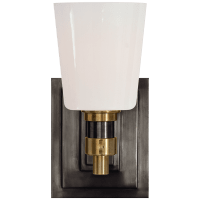 Bryant Single Bath Sconce in Bronze and Hand-Rubbed Antique Brass with White Glass