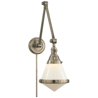 Gale Library Wall Light in Antique Nickel with White Glass