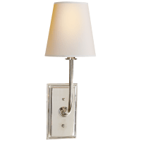 Hulton Sconce in Polished Nickel with Crystal Backplate and Natural Paper Shade