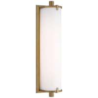 Calliope Medium Bath Light in Hand-Rubbed Antique Brass with White Glass