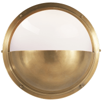 Pelham Moon Light in Hand-Rubbed Antique Brass with White Glass
